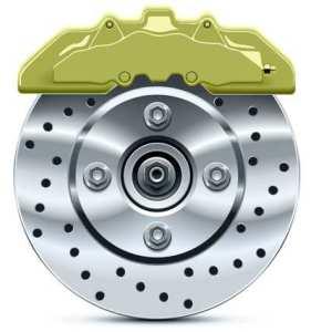 Brake  disc with caliper, vector